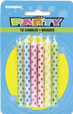 Diamond Dots Birthday Cake Candles 10 Pack